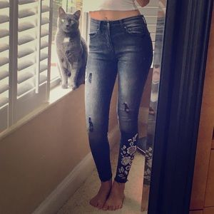 Gray Floral Jeans